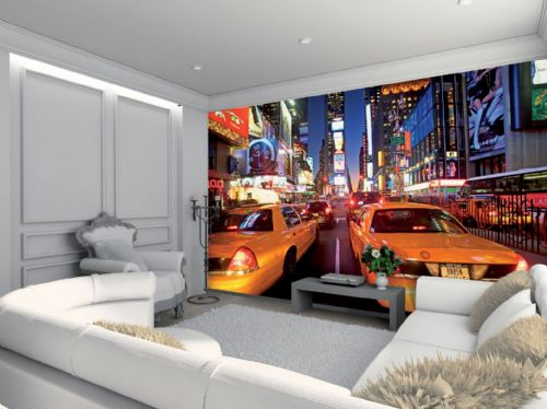 GIANT WALLPAPER WALL MURAL NEW YORK TIMES SQUARE YELLOW TAXI THEMED DESIGN